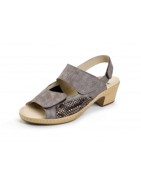 Sandalia con laterales elásticos y plantilla extraíble Metalizado marrón