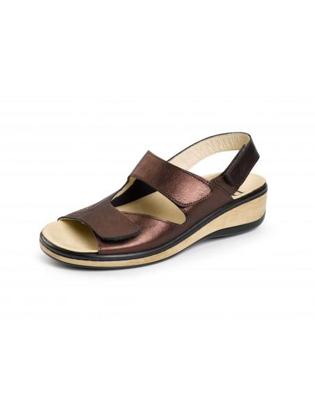Sandalia especial juanetes con velcro Bronce de Daimar