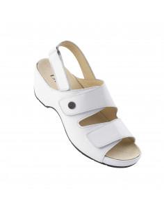 Sandalia de mujer con velcros en Blanco de Daimar