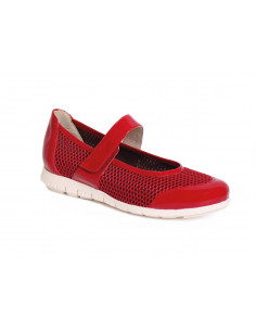 Zapato de senora muy ligero con rejilla elastica en Rojo
