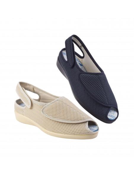 Zapatilla de casa para pies sensibles con rejilla elástica y velcro