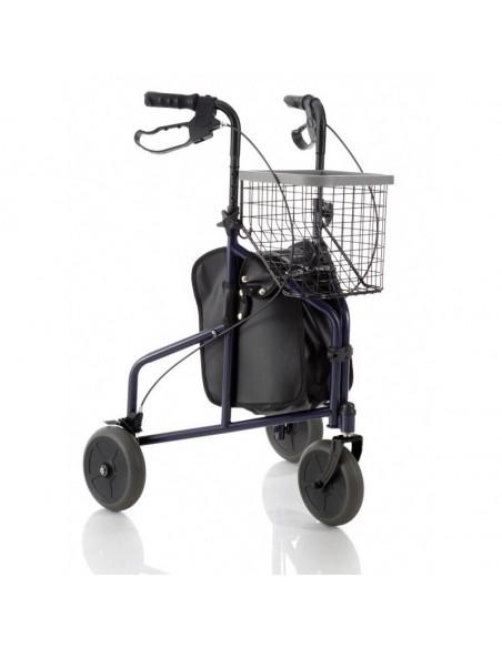 Andador de 3 ruedas con cesta y bolsa.