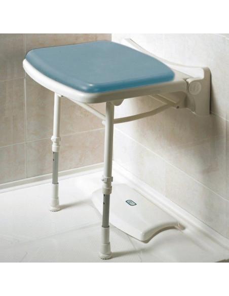 Asiento de ducha abatible y acolchado tamaño reducido