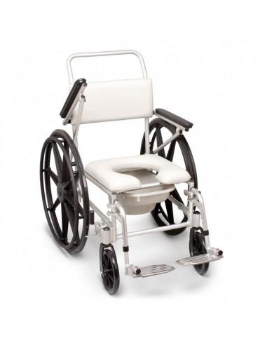 Silla de bano para ducha con wc con ruedas grandes